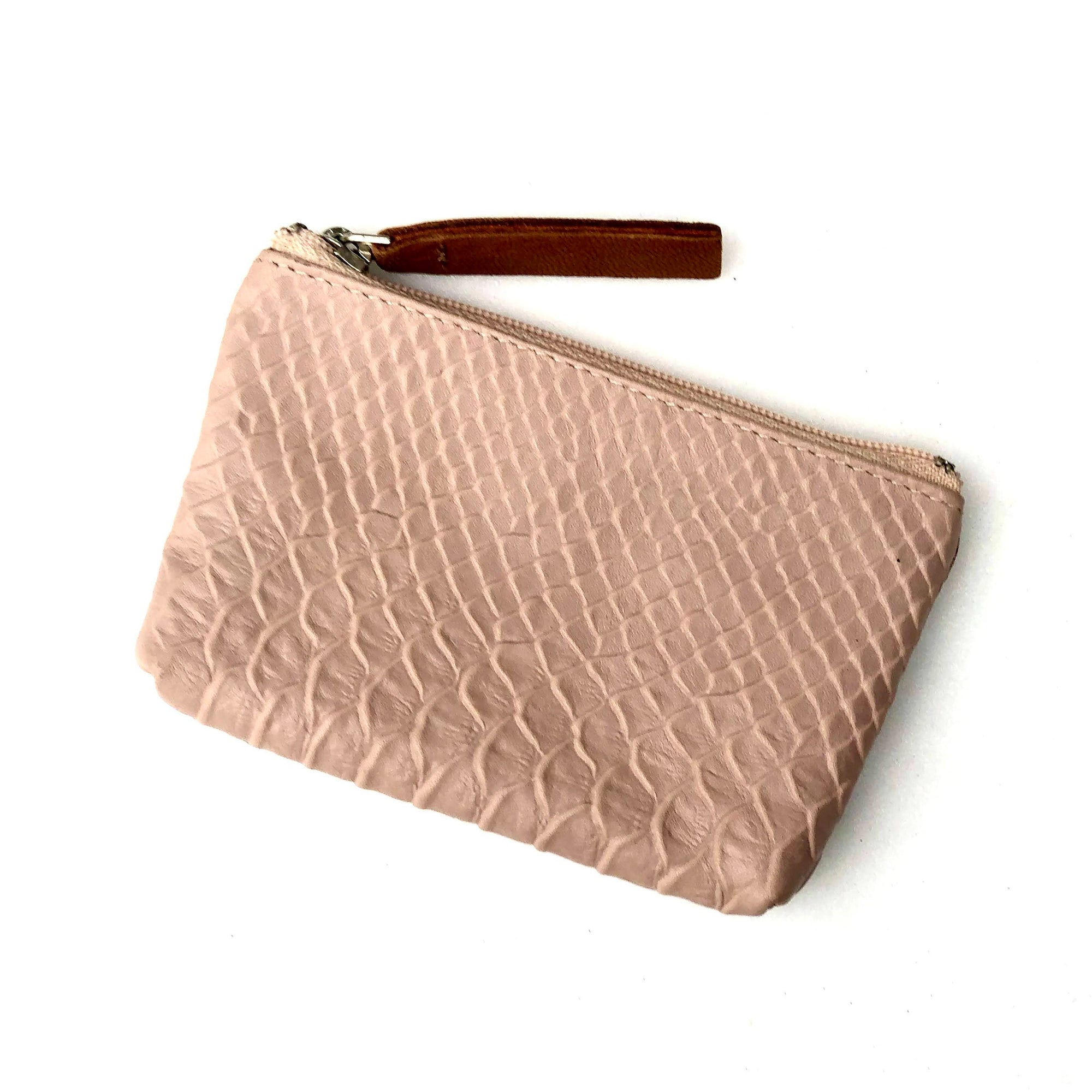 Pale Pink Snake Embossed Leather Card Coin Purse with Key Rings