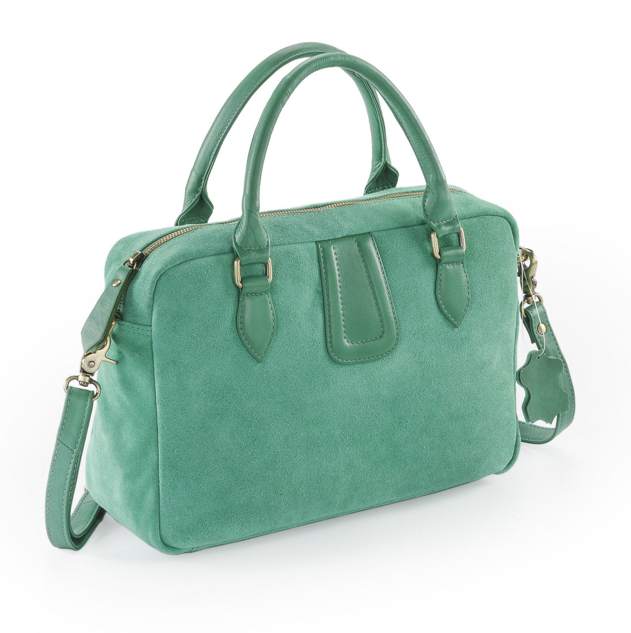 Rimor Silky suede ladies handbag  LB10 Green 7b3556fb4f38f