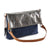 Metallic leather 4 way back pack messenger clutch bag #LB31 pewter
