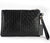 Secure RFID leather ladies wristlet clutch with card case #LB66 Black