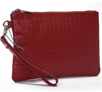 Secure RFID leather ladies wristlet clutch with card case #LB66 Red
