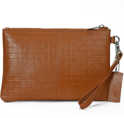 Secure RFID leather ladies wristlet clutch with card case #LB66 Rust