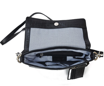 Secure RFID leather ladies messenger bag with card case #LB67 Black