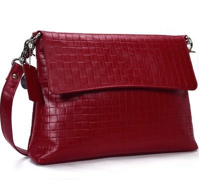 Secure RFID leather ladies messenger bag with card case #LB67 Red
