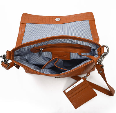 Secure RFID leather ladies messenger bag with card case #LB67 Rust