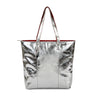 Metallic Magpie Zip Top Tote Bag #LB86 Silver