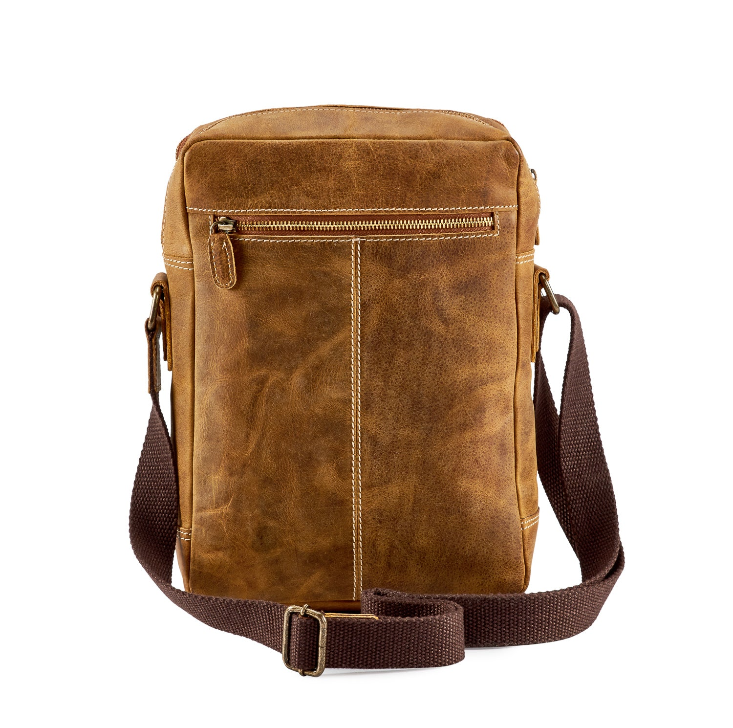 Venator Distressed Leather Portrait Messenger Bag #MB4972