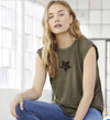 Olive Green Women's Flowy Summer Fold Up Tee T-Shirt LTS-8804