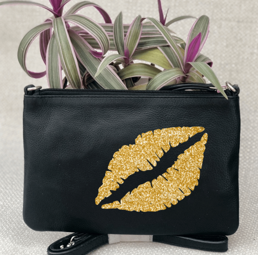 Lips Leather Clutch Bag - Zebra Leopard Glitter