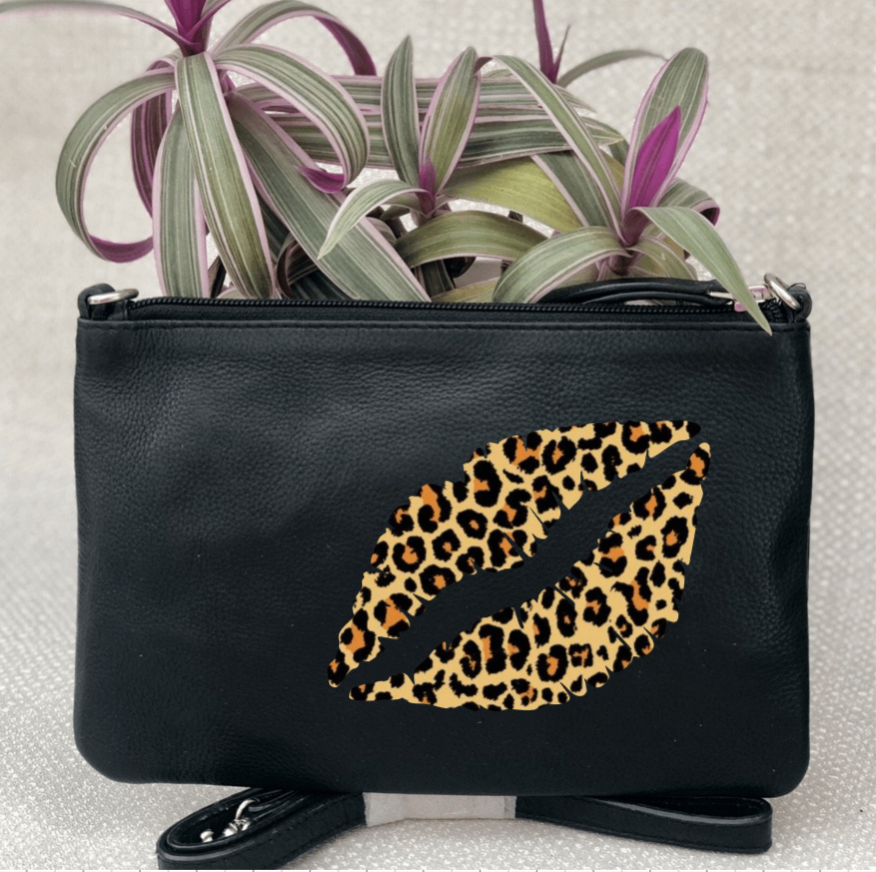 Lips Personalised Black Leather Clutch Bag - Leopard Zebra Glitter