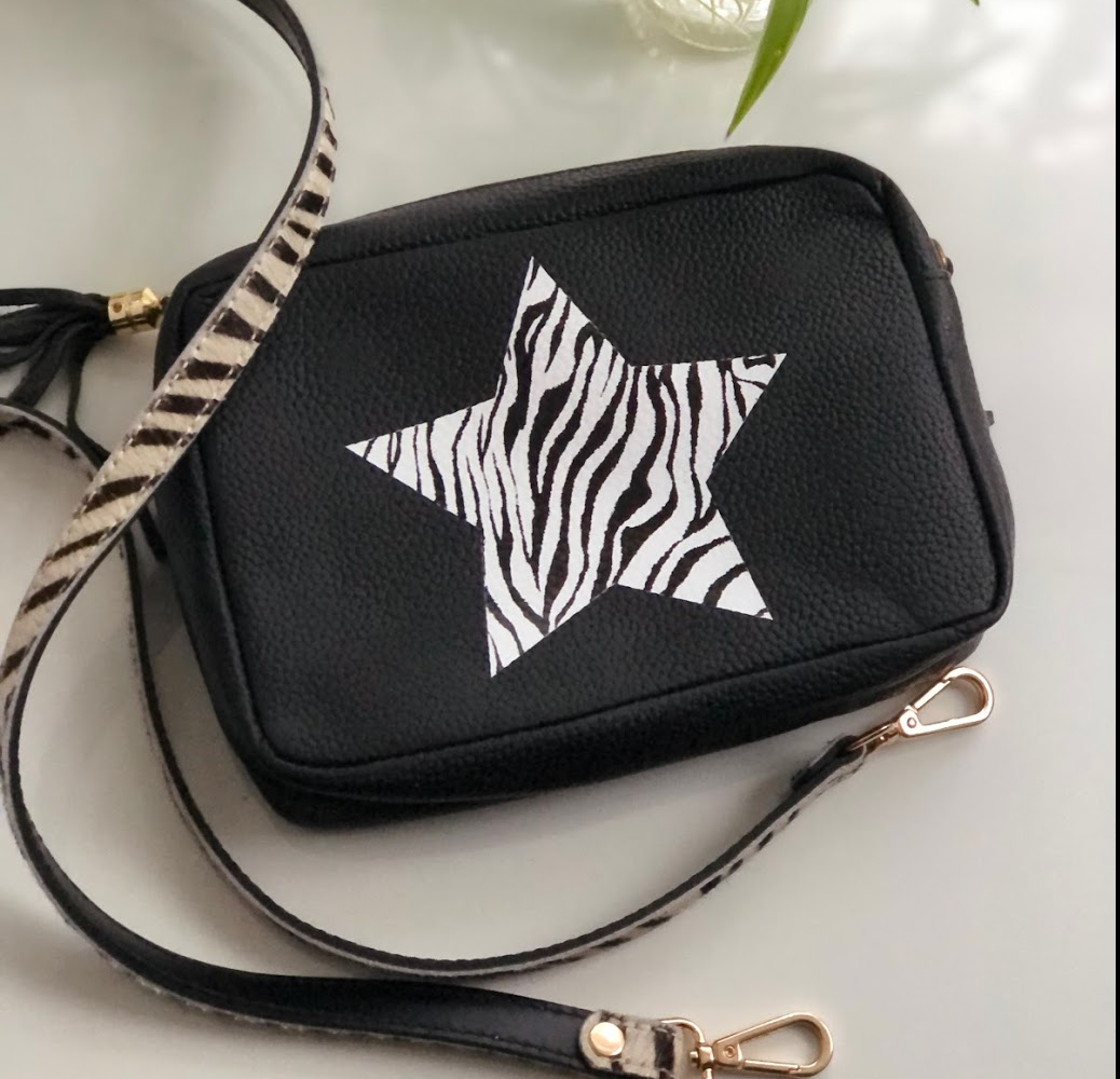 Zebra Star Camera Classic Black Kylie Pebbled Leather Crossbody Clutch Bag