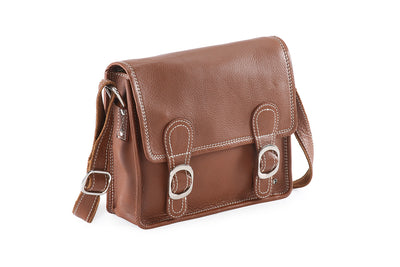PRATICO - Xena leather small satchel bag #LB44 brown