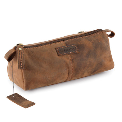 Brown Genuine Leather Pencil Case / Travel Toiletry Bag #TW10