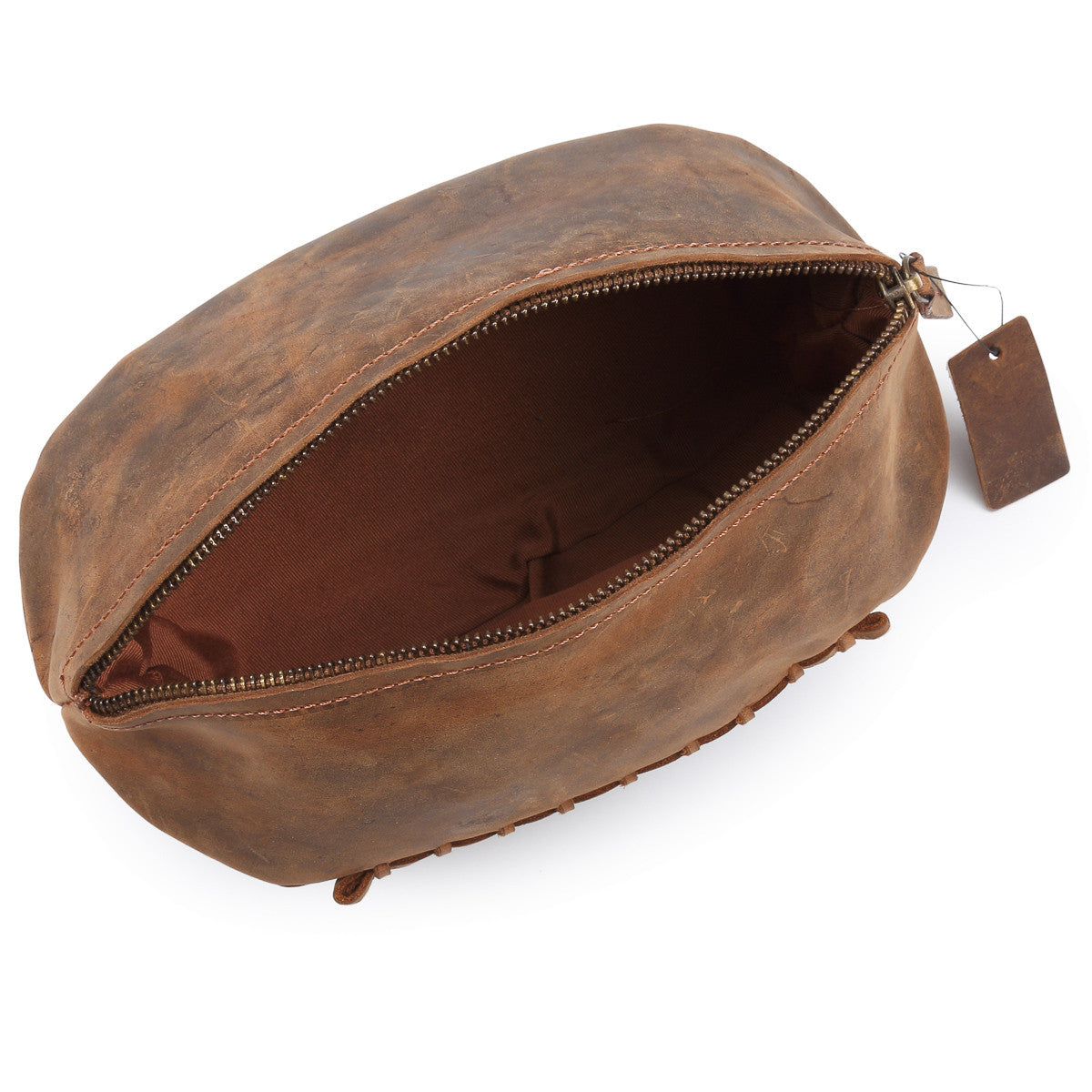 02801e160fec Hydestyle Venator Distressed Leather Rugby Ball Wash Bag  TW13