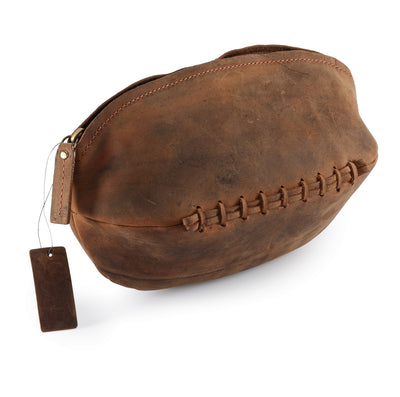 Hydestyle Venator Distressed Leather Rugby Ball Wash Bag  #TW13