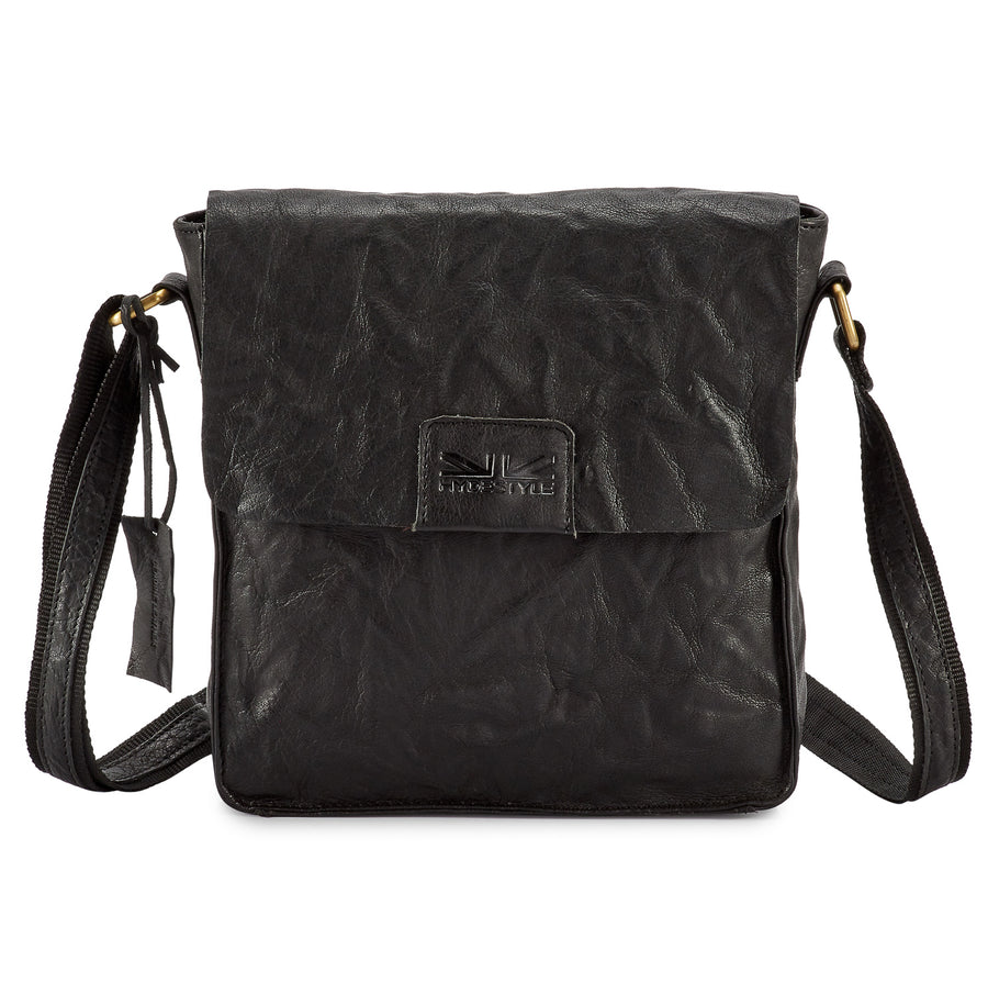 Pello Black washed leather man-bag #UM101 - Small