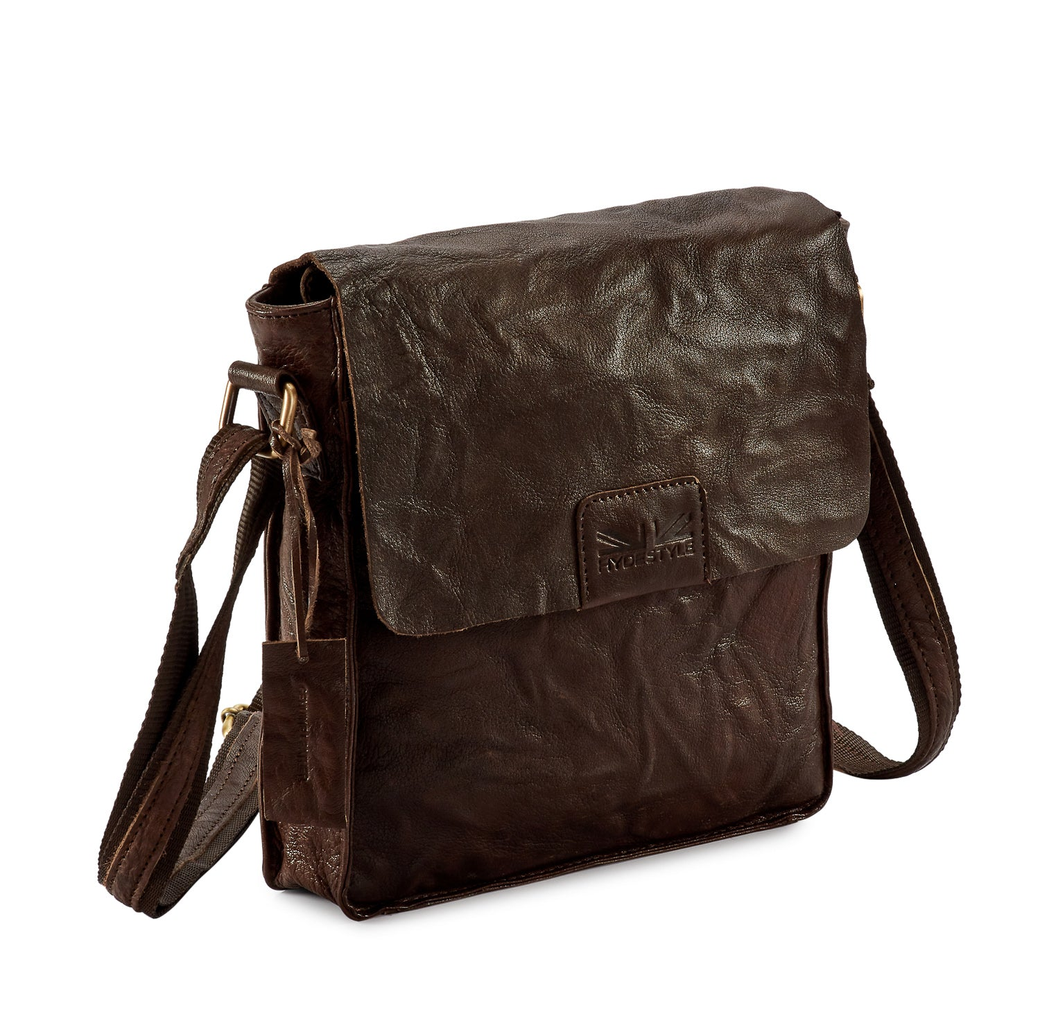 24d1273a98 Pello Brown washed leather man-bag  UM101 - Small