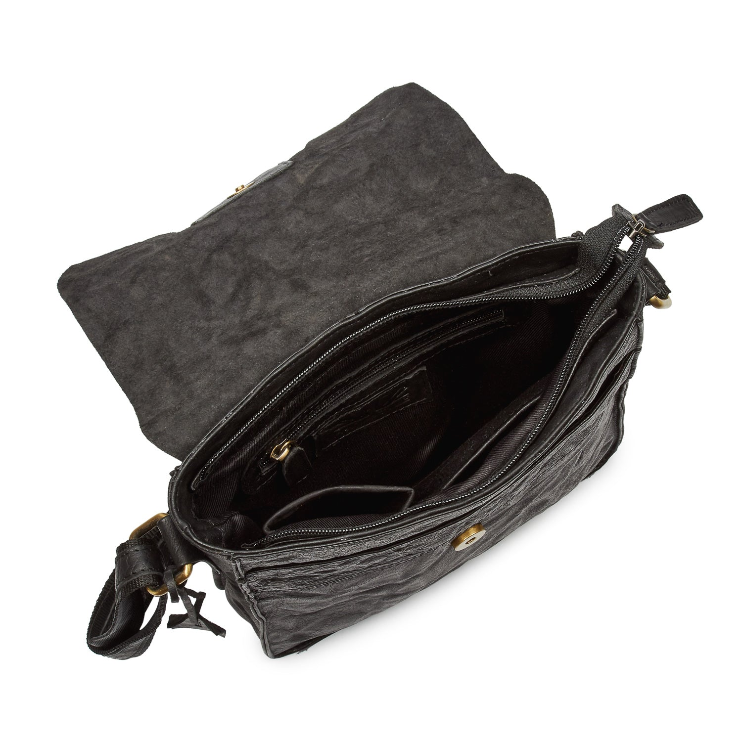 51ac70a744 Pello Black washed leather man-bag  UM101 - Small