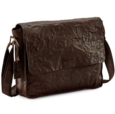 Pello Brown washed leather man-bag  #UM103 - Large
