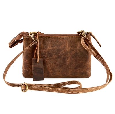 HYDESTYLE Distressed Leather Tandem Clutch #UM60