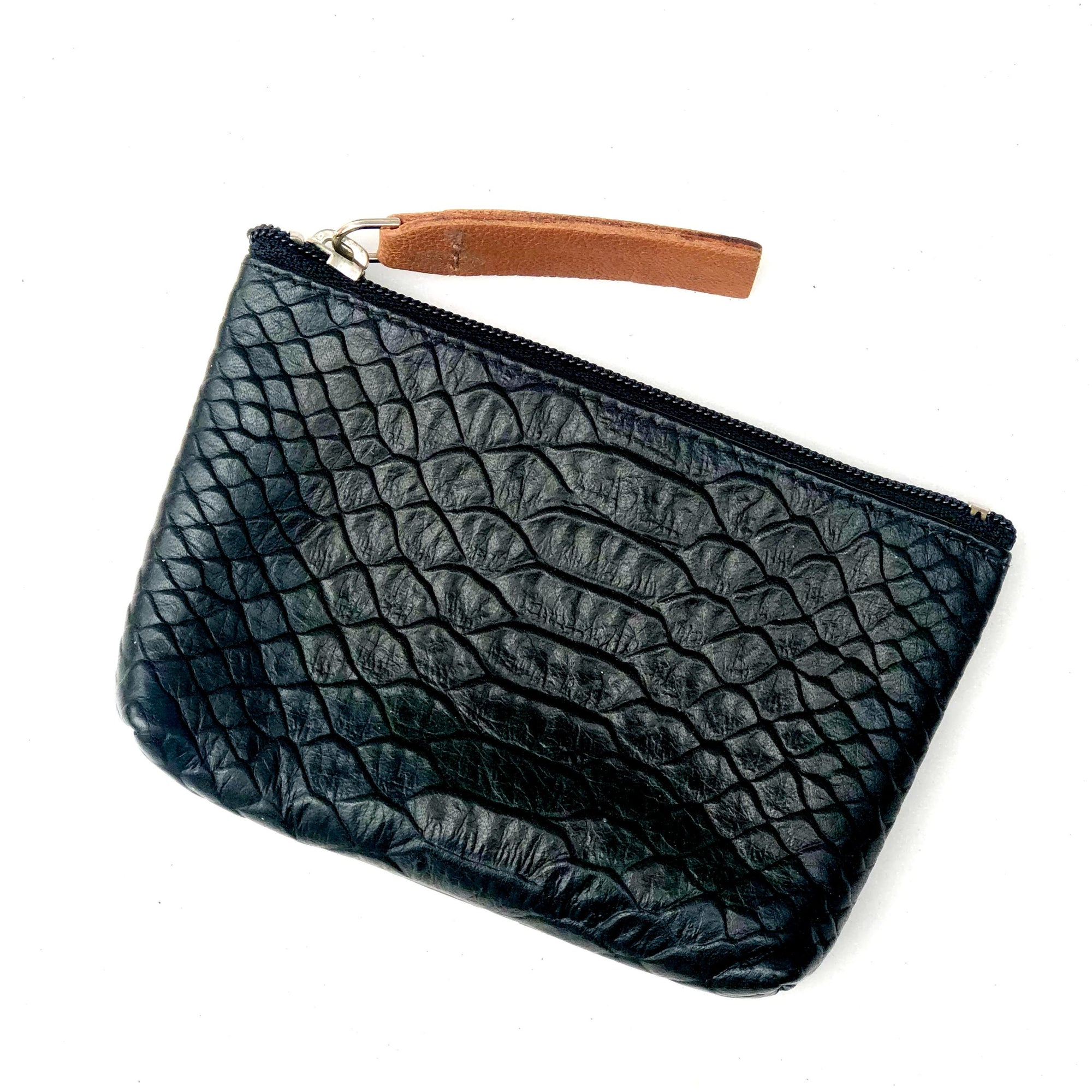 Black Snake Embossed Leather Card Coin Purse with Key Rings