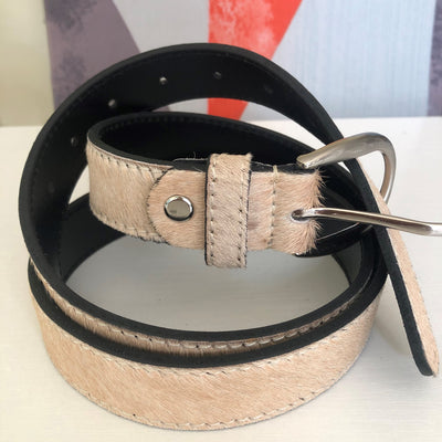 Hair-on-hide leather belt - Beige