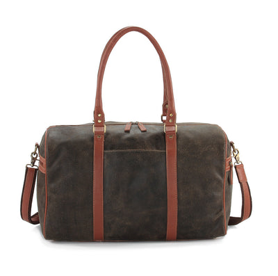Crackle distressed leather duffel bag #TT07 Brown