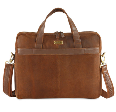 Crackle distressed leather laptop bag #UM45 tan