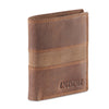 Frango mens' distressed leather vertical bifold wallet #GW39