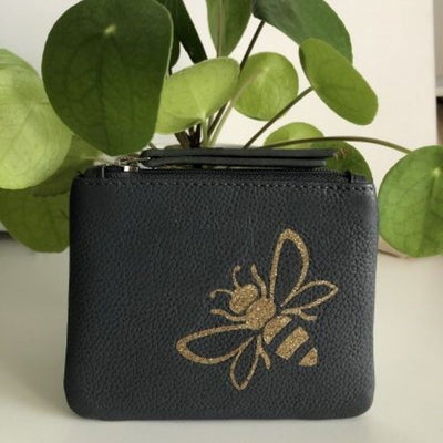 Bee Personalised Leather Coin Purse LBR101-Bee-1