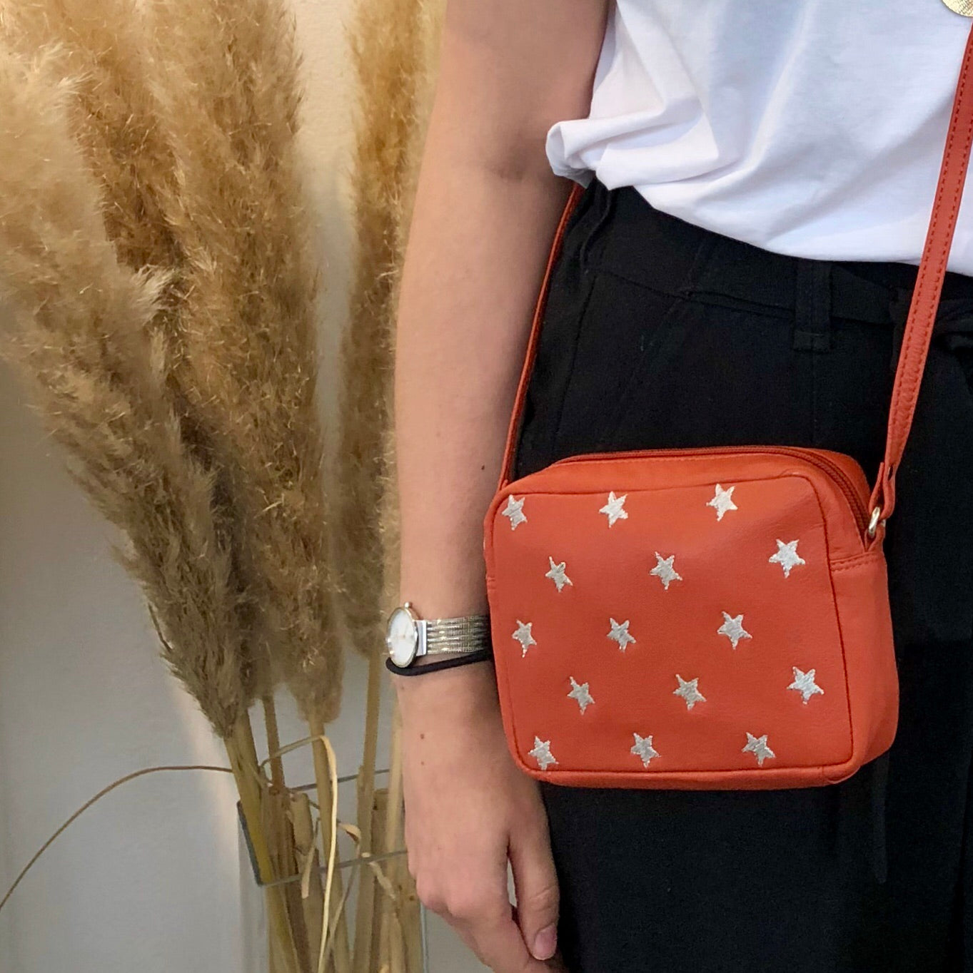 Capra Star Embroidered Bag #LB301-Orange
