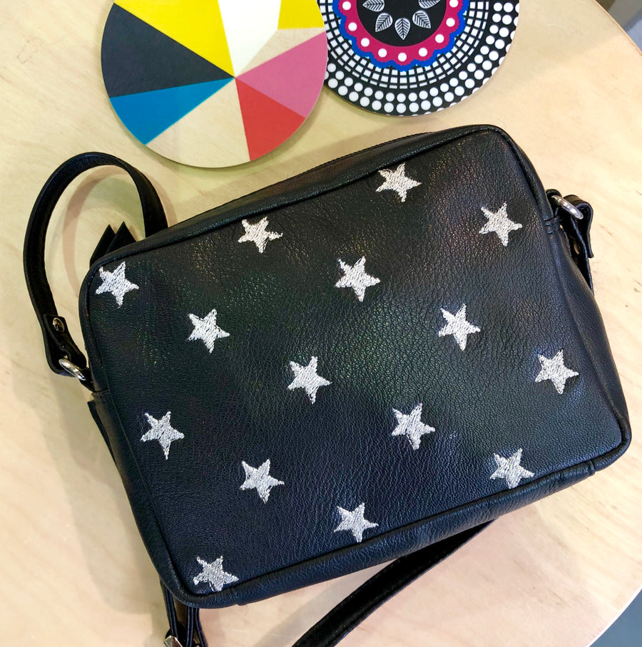 Capra Star Embroidered Bag #LB301-Black