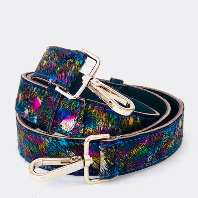 Metallic Colour SplashBlack Hair On Hide Leather Crossbody Bag Replacement Strap