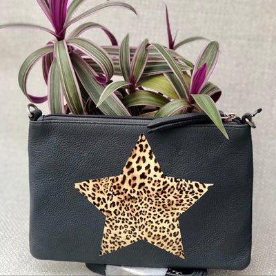 Personalised Leopard Star Leather Clutch Bag LBR301-Leopard