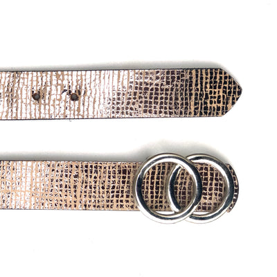 Metallic Silver Print Womens Leather Belt with Detachable Buckle