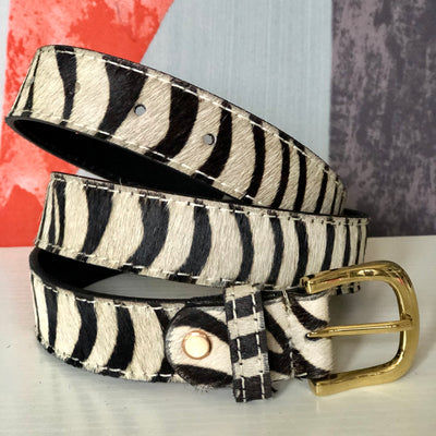 Zebra - Pony hair leather belt BL18-Zebra