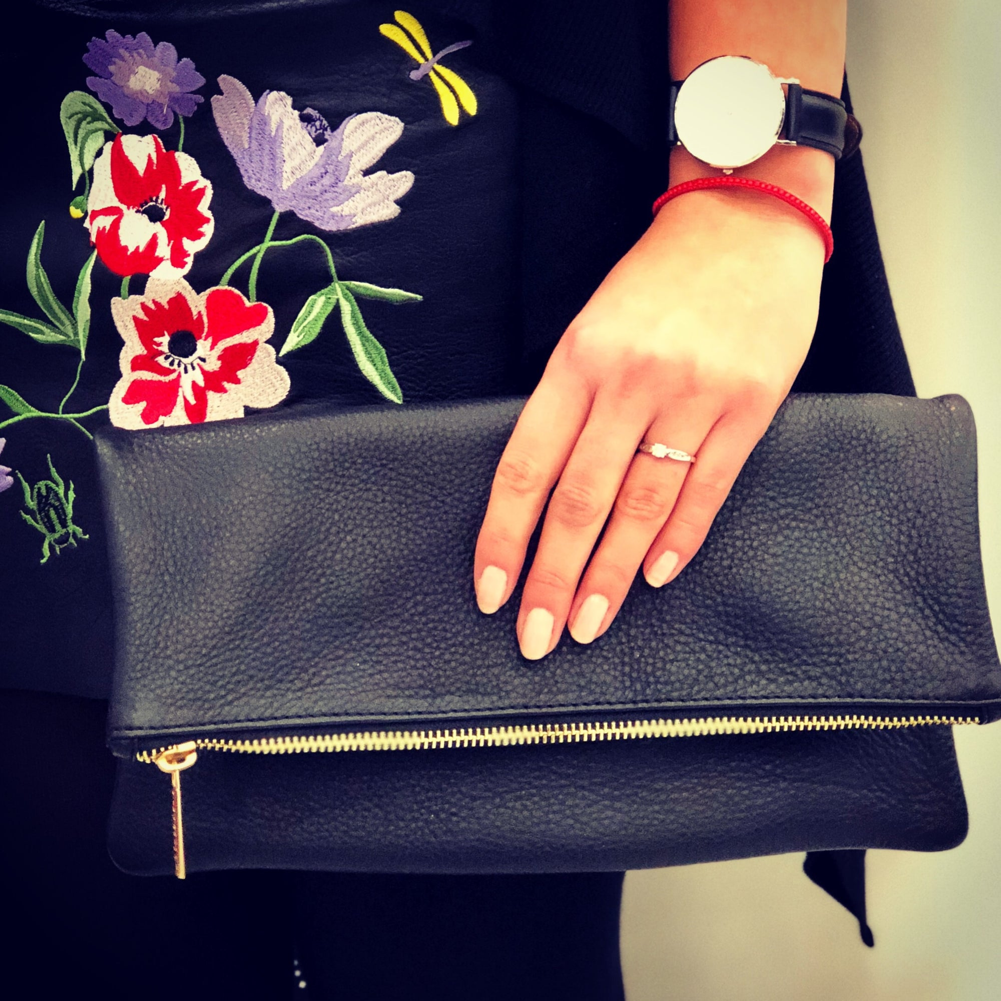 Genuine leather fold over clutch #LB209
