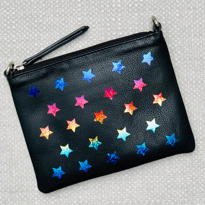 Rainbow Stars Leather Small Shoulder Clutch Bag LBR201-Black