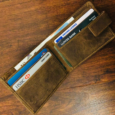 Frango mens' leather slim bifold wallet #GW40