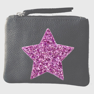 Grain Leather Grey Coin Pouch LBR201-Star