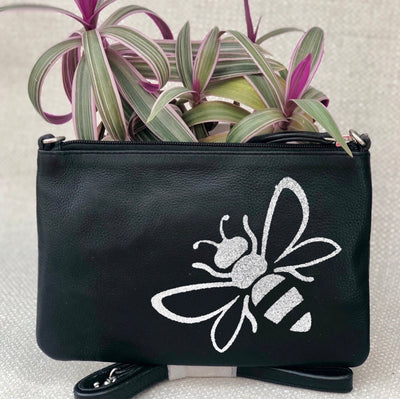 Personalised Spring Summer Tropical Print Leather Clutch Bag LBR301-Bee