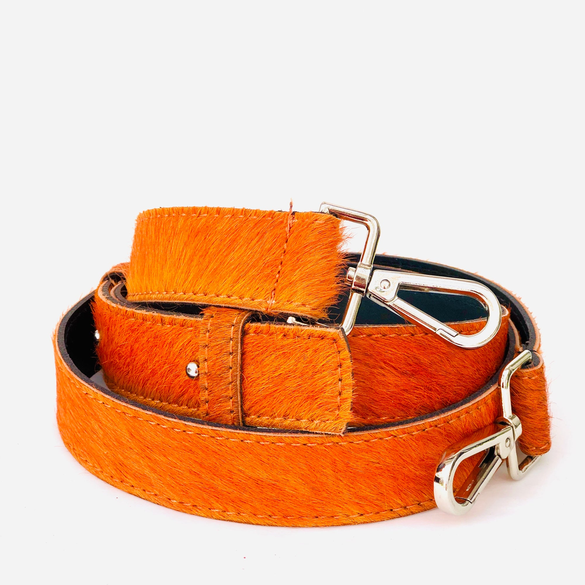 Neon Orange Hair On Hide Leather Crossbody Bag Replacement Strap