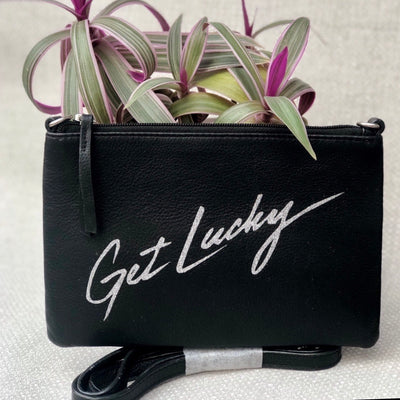Personalised Quote Leather Clutch Bag LBR301-Get-Lucky