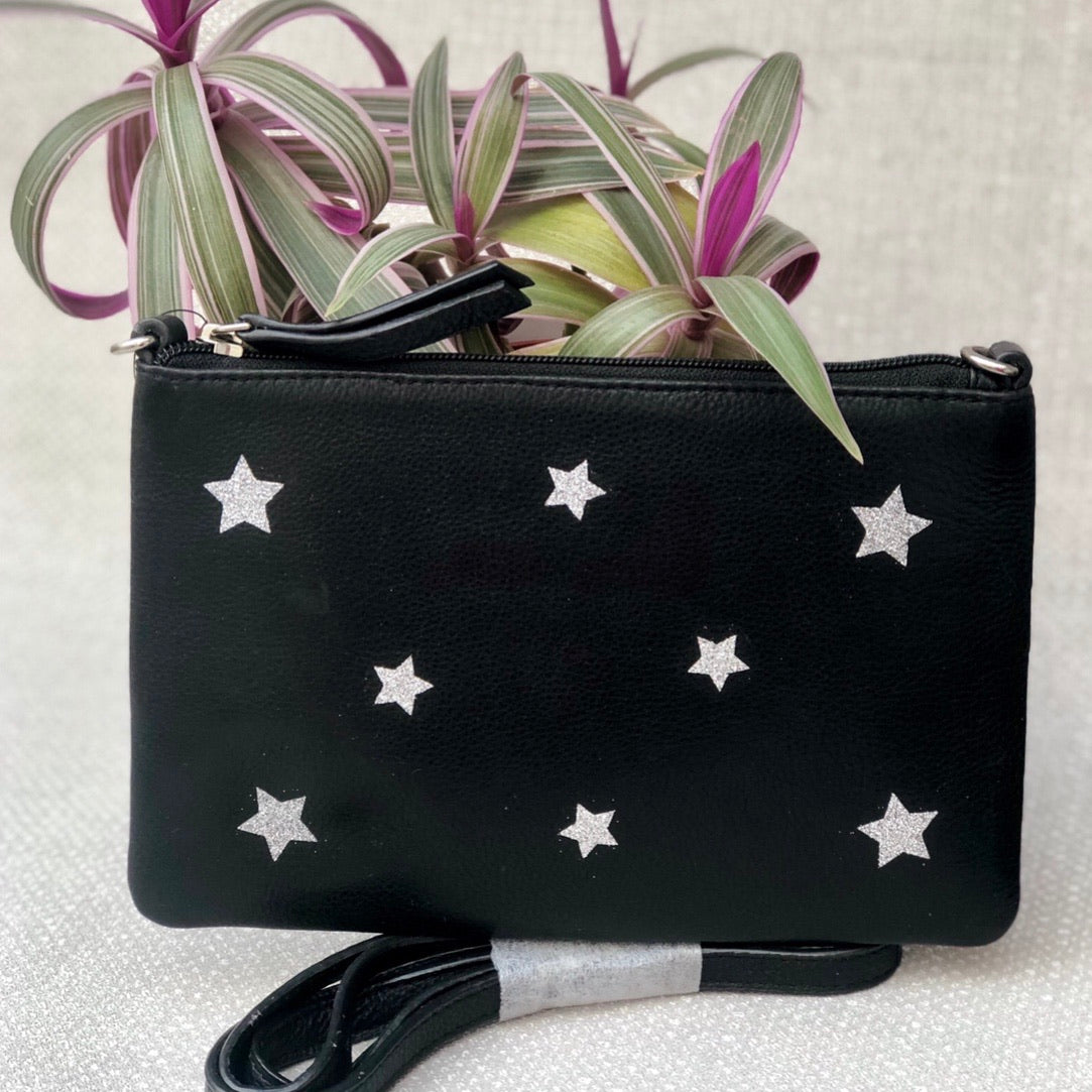 Personalised Glitter Stars Leather Clutch Bag LBR301-Multi-Stars