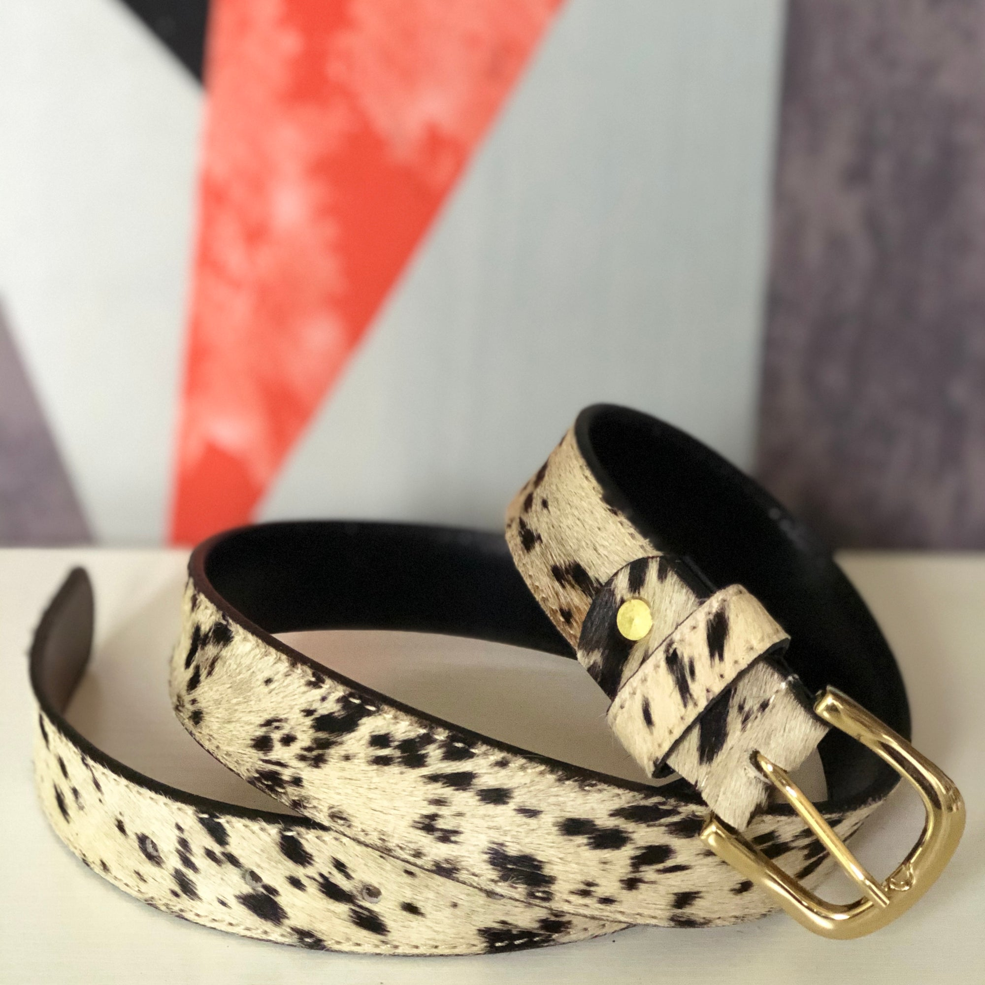 Spotty Hair on Hide Leather Pony Hair Womens' Belt BL19