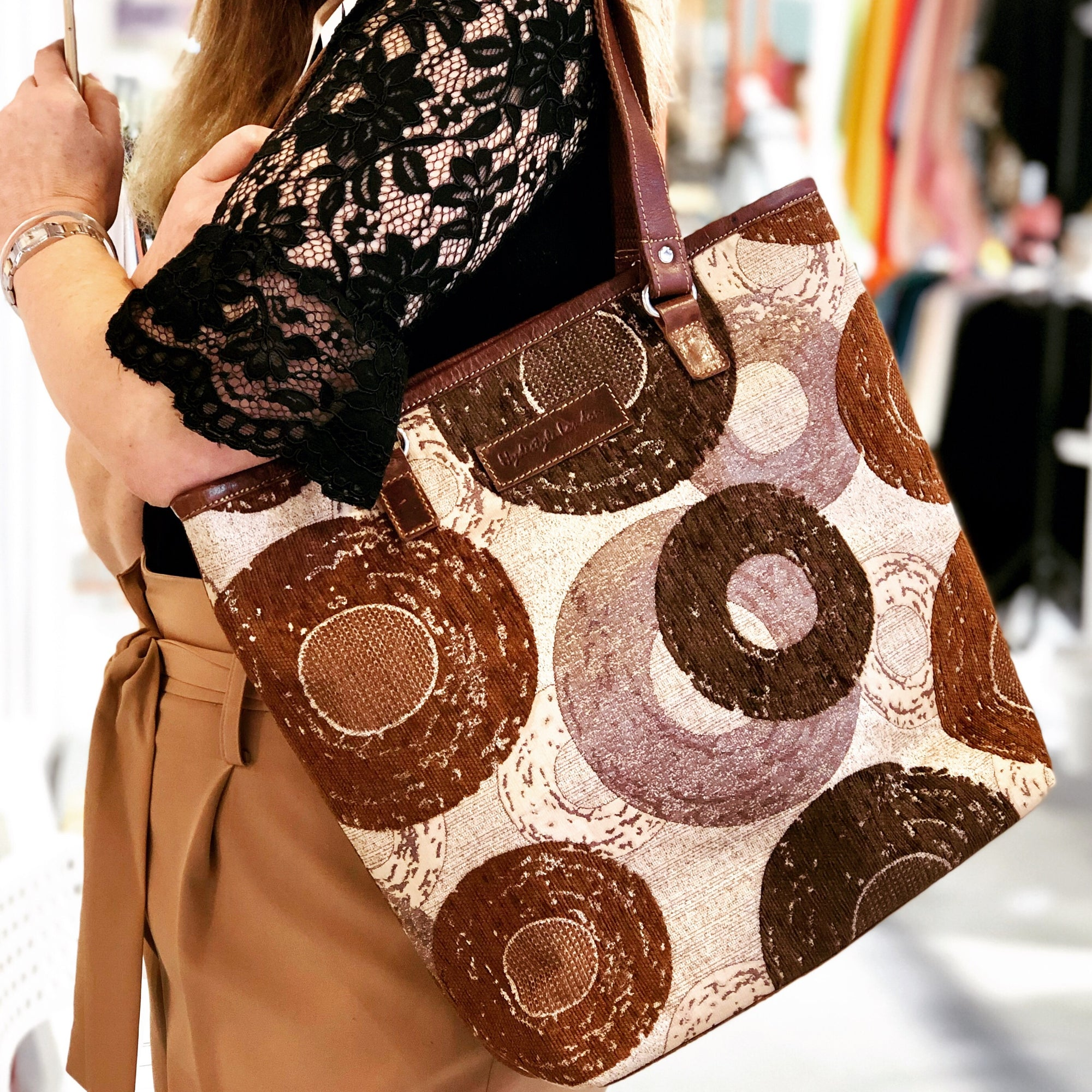 Tapestry with leather trims tote bag #LB409 Doughnut