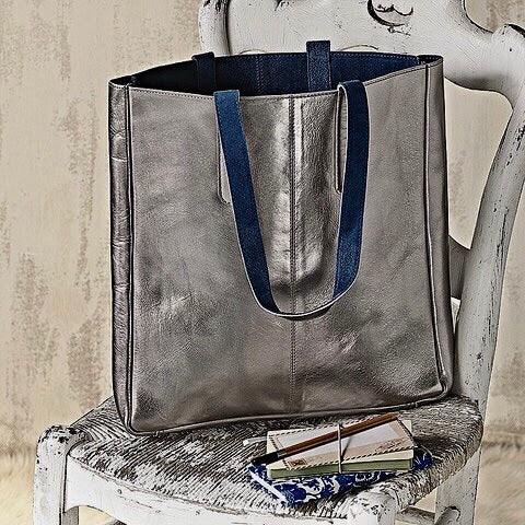 Hydestyle Metallic Sofia reversible leather tote bag #LB32-pewter