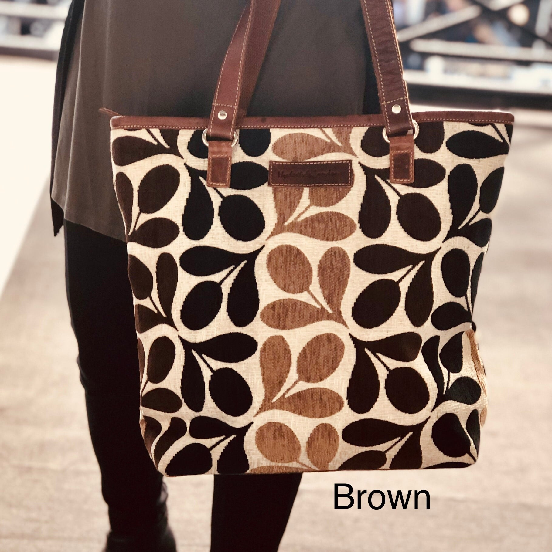 Tapestry with leather trims tote bag #LB409 Leaf-Brown