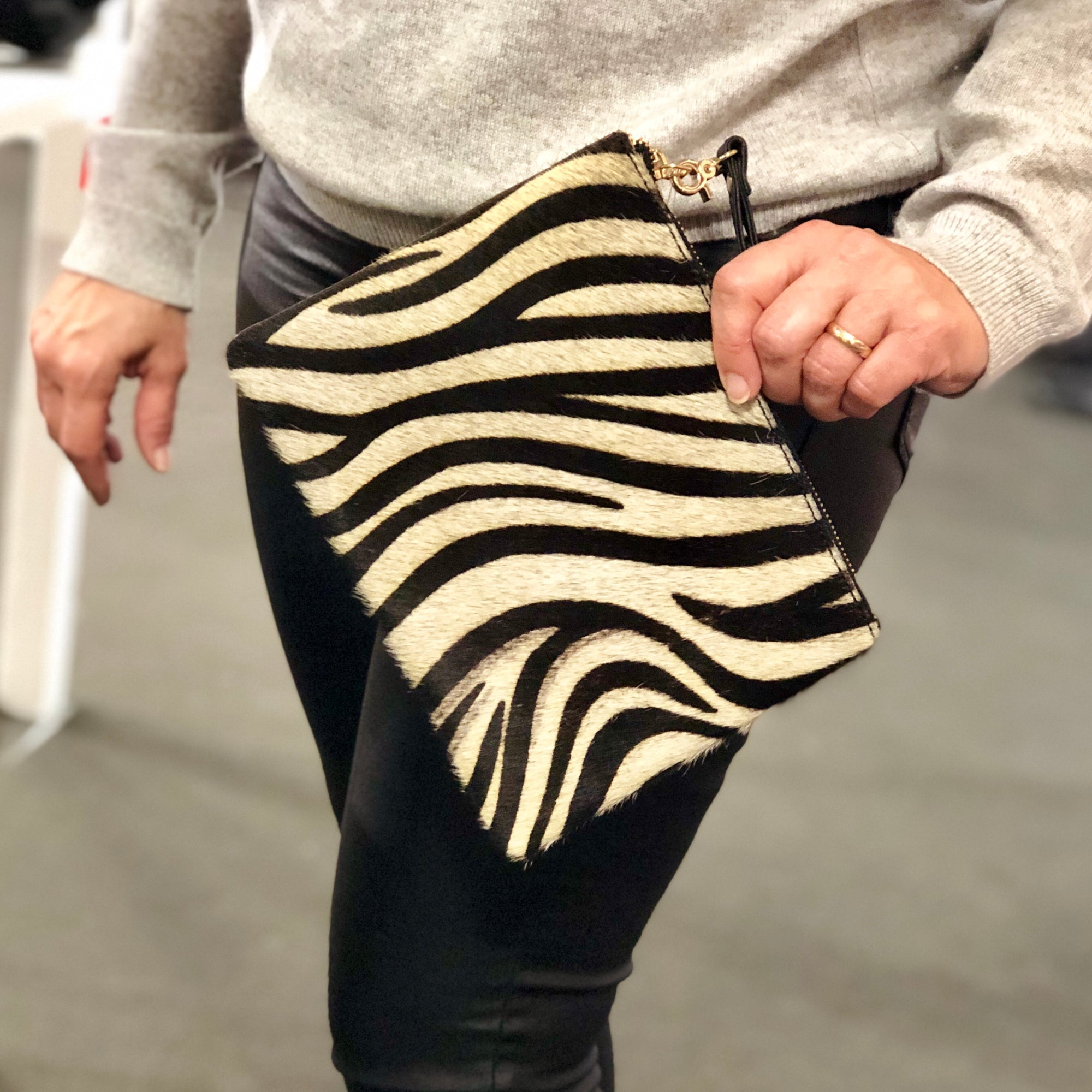 Pony Hair  Genuine Leather Wristlet #LB601 Zebra
