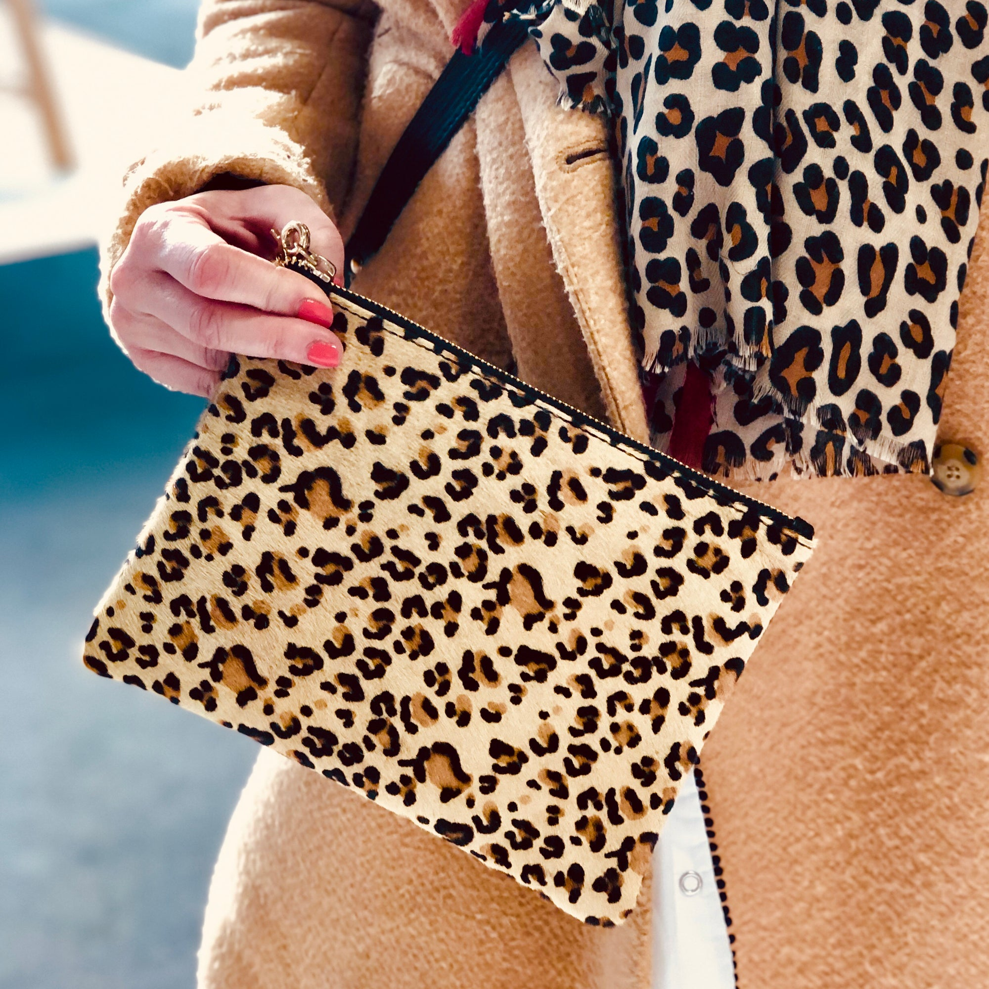 Pony Hair  Genuine Leather Wristlet #LB601 Leopard